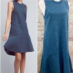 Knitted and knotted blue wool dress